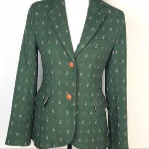 Anthropologie Madchen Olive Green Wool Blazer Sz S